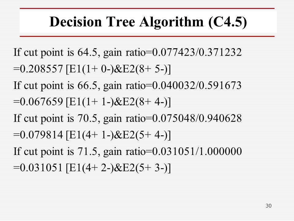 30 Decision Tree Algorithm (C4.5) If cut point is 64.5, gain ratio=0.077423/0.371232 =0.208557 [E1(1+ 0-)&E2(8+ 5-)] If cut point is 66.5, gain ratio=