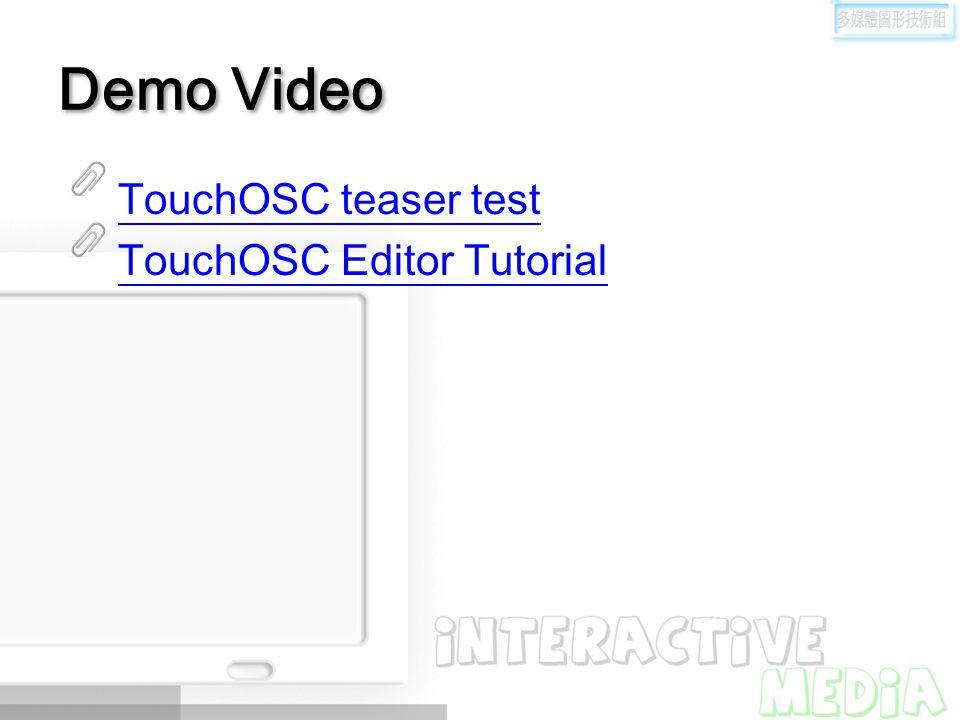 Demo Video TouchOSC teaser test TouchOSC Editor Tutorial