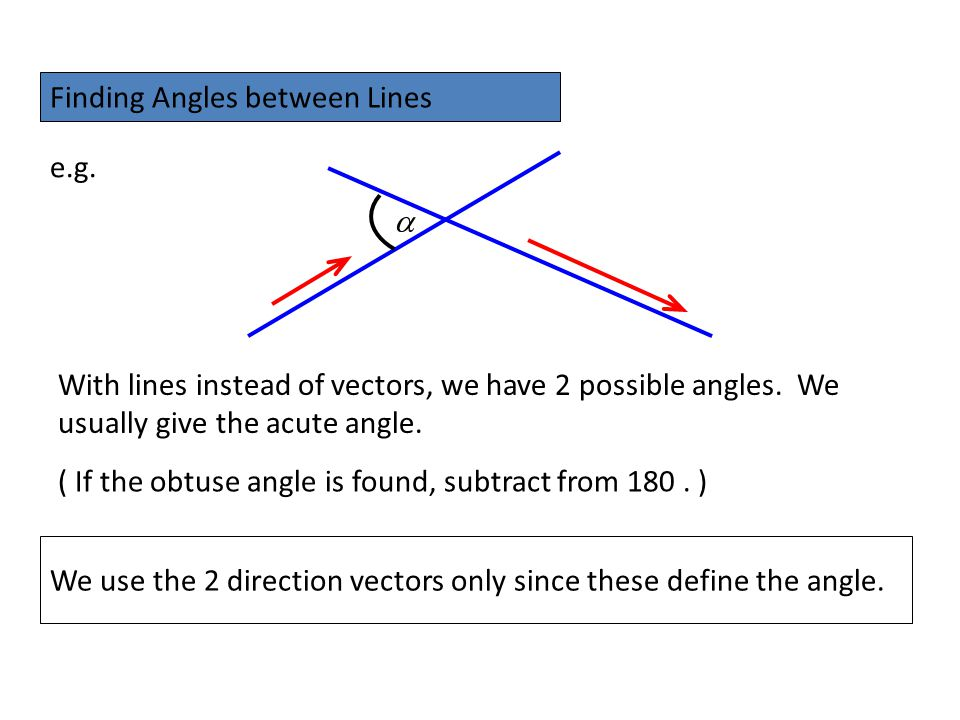Finding Angles between Lines e.g. With lines instead of vectors, we have 2 possible angles. We usually give the acute angle.  We use the 2 direction