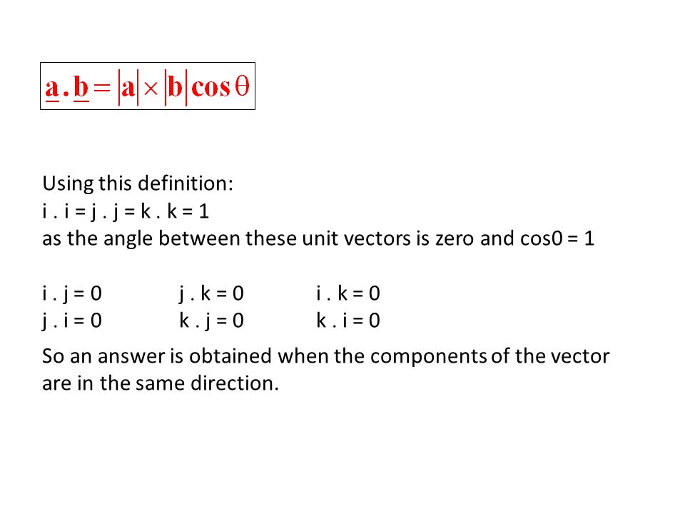 Notice that the scalar product uses the magnitudes, a and b, of the vectors as well as the angle between them, so, we get a different answer for: different size vectors at the same angle, 8 10 6