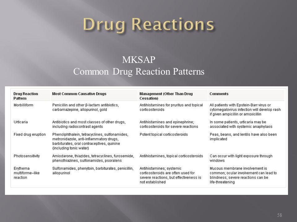 58 MKSAP Common Drug Reaction Patterns