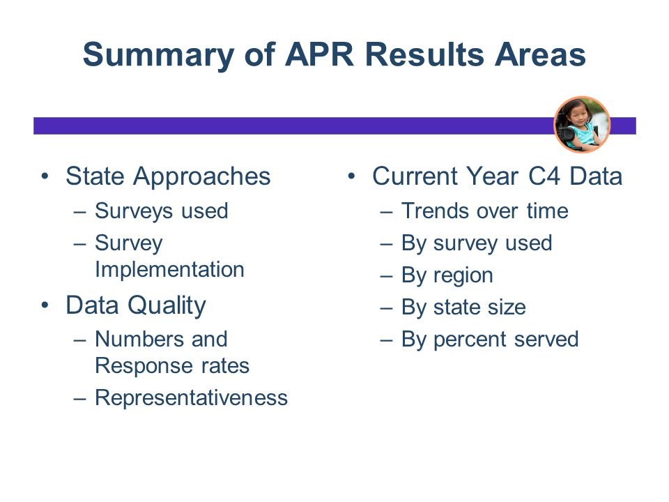 Summary of APR Results Areas State Approaches –Surveys used –Survey Implementation Data Quality –Numbers and Response rates –Representativeness Curren