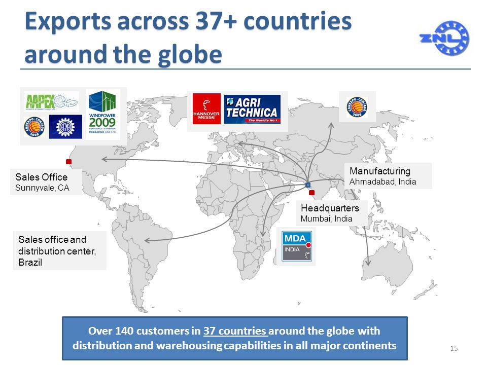 Exports across 37+ countries around the globe Sales Office Sunnyvale, CA Manufacturing Ahmadabad, India Headquarters Mumbai, India Over 140 customers in 37 countries around the globe with distribution and warehousing capabilities in all major continents 15 Sales office and distribution center, Brazil
