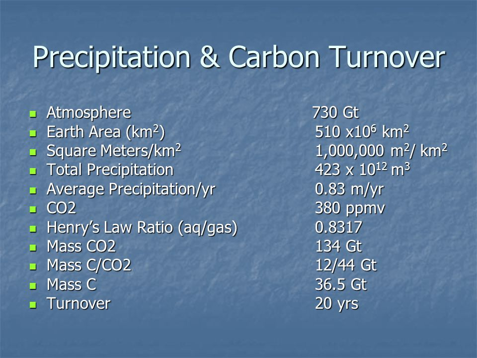 Precipitation & Carbon Turnover Atmosphere 730 Gt Atmosphere 730 Gt Earth Area (km 2 ) 510 x10 6 km 2 Earth Area (km 2 ) 510 x10 6 km 2 Square Meters/