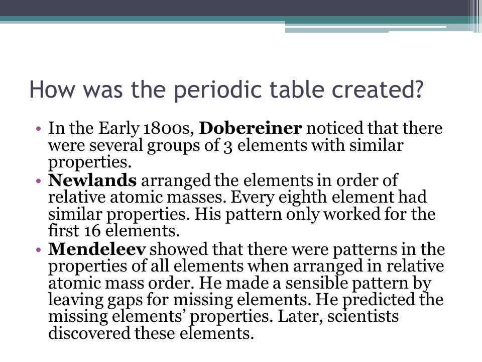 How was the periodic table created.