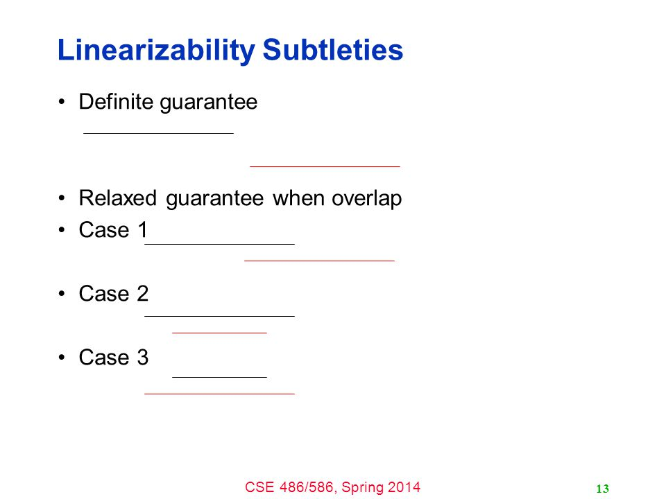 CSE 486/586, Spring 2014 Linearizability Subtleties Definite guarantee Relaxed guarantee when overlap Case 1 Case 2 Case 3 13