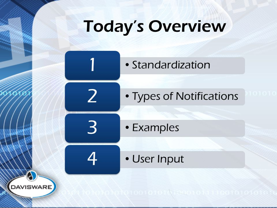 Today's Overview Standardization 1 Types of Notifications 2 Examples 3 User Input 4