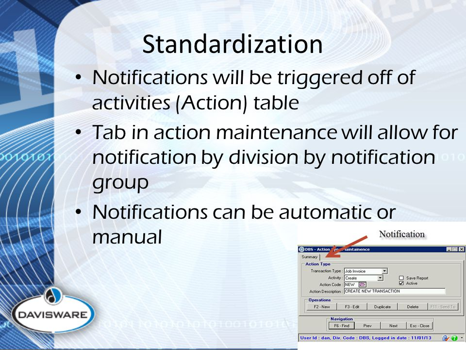 Standardization Notifications will be triggered off of activities (Action) table Tab in action maintenance will allow for notification by division by