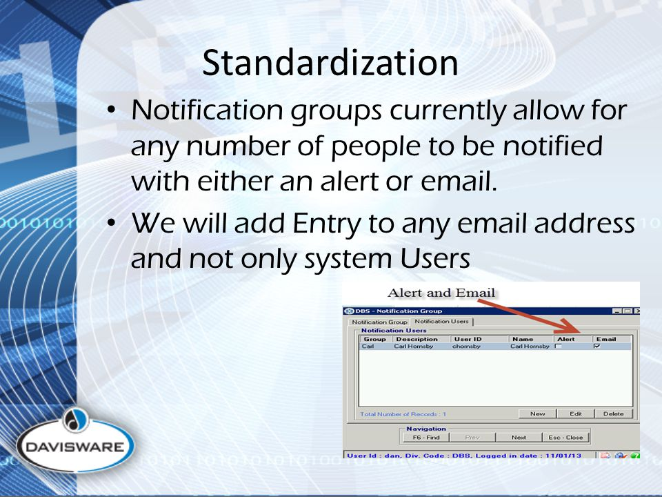 Standardization Notification groups currently allow for any number of people to be notified with either an alert or email. We will add Entry to any em