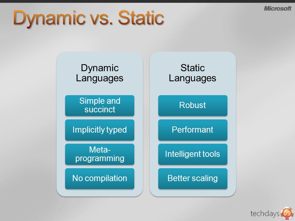 Dynamic Languages Simple and succinct Implicitly typed Meta- programming No compilation Static Languages RobustPerformantIntelligent toolsBetter scaling