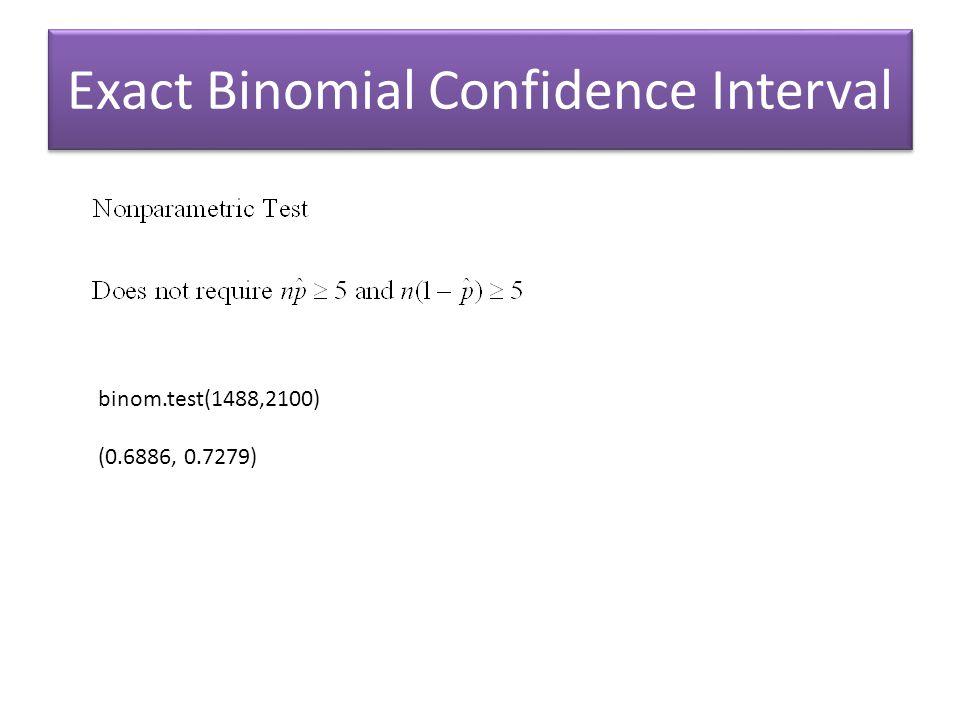 Exact Binomial Confidence Interval binom.test(1488,2100) (0.6886, 0.7279)