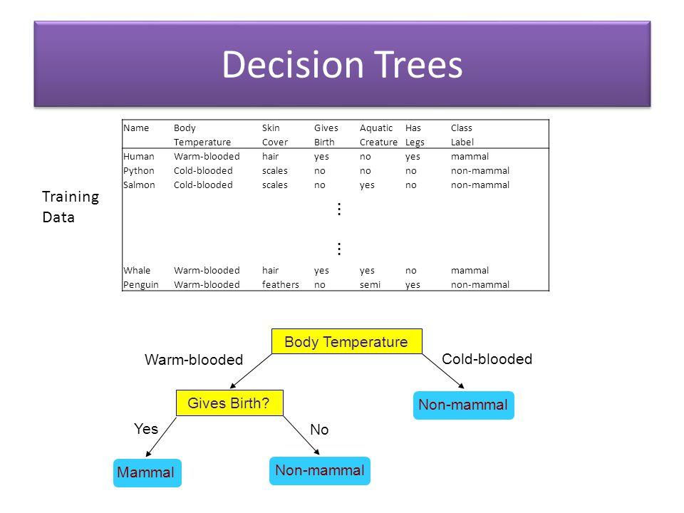 Decision Trees Body Temperature Gives Birth? Non-mammal Yes Cold-blooded Warm-blooded Mammal Non-mammal No NameBodySkinGivesAquaticHasClass Temperatur