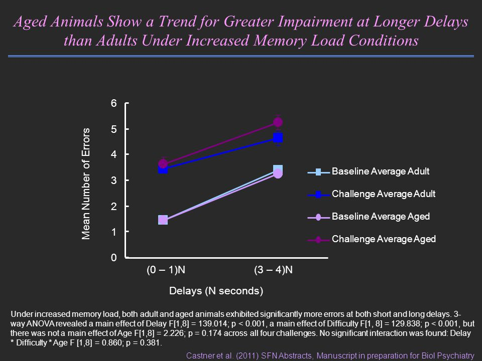 Aged Animals Show a Trend for Greater Impairment at Longer Delays than Adults Under Increased Memory Load Conditions Mean Number of Errors (0 – 1)N(3 – 4)N Delays (N seconds) 0 1 2 3 4 5 6 Baseline Average Adult Challenge Average Adult Baseline Average Aged Challenge Average Aged Under increased memory load, both adult and aged animals exhibited significantly more errors at both short and long delays.