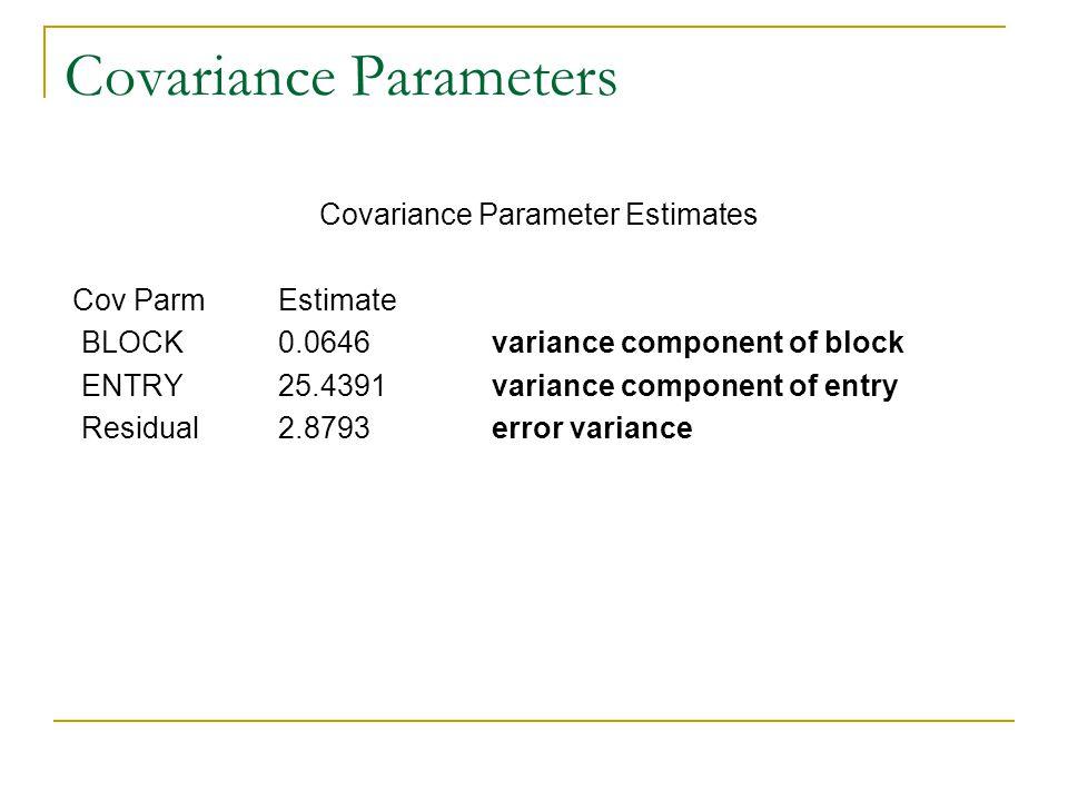 Covariance Parameters Covariance Parameter Estimates Cov ParmEstimate BLOCK0.0646variance component of block ENTRY25.4391variance component of entry R