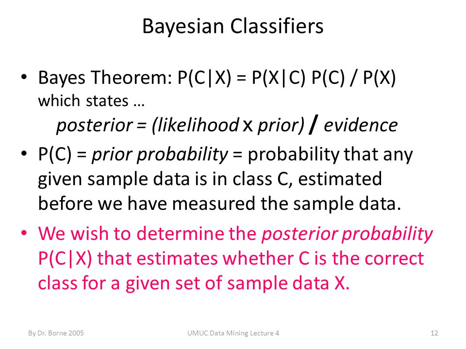 By Dr. Borne 2005UMUC Data Mining Lecture 412 Bayesian Classifiers Bayes Theorem: P(C|X) = P(X|C) P(C) / P(X) which states … posterior = (likelihood x