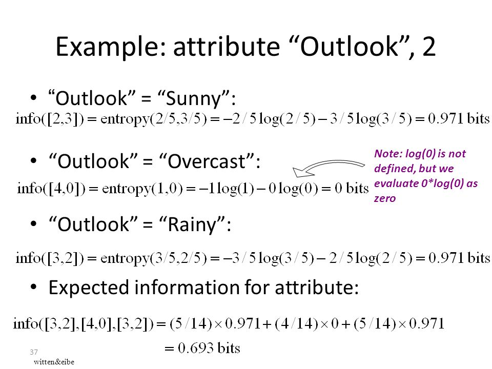 "37 Example: attribute ""Outlook"", 2 ""Outlook"" = ""Sunny"": ""Outlook"" = ""Overcast"": ""Outlook"" = ""Rainy"": Expected information for attribute: Note: log(0)"