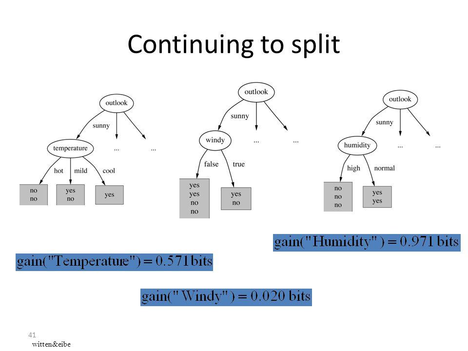 41 Continuing to split witten&eibe