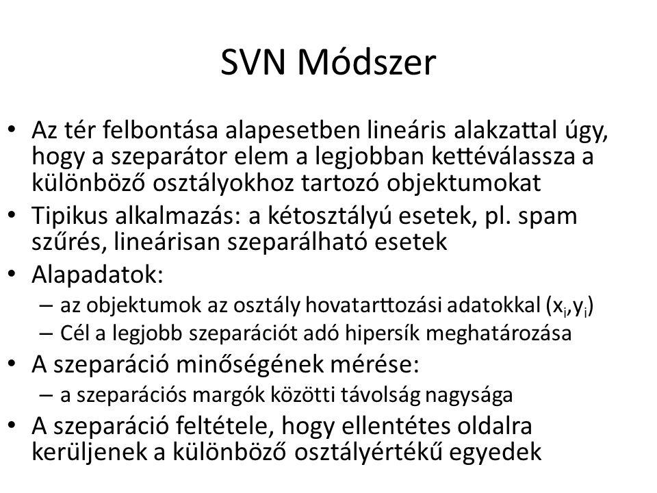 SVN Módszer Az tér felbontása alapesetben lineáris alakzattal úgy, hogy a szeparátor elem a legjobban kettéválassza a különböző osztályokhoz tartozó objektumokat Tipikus alkalmazás: a kétosztályú esetek, pl.