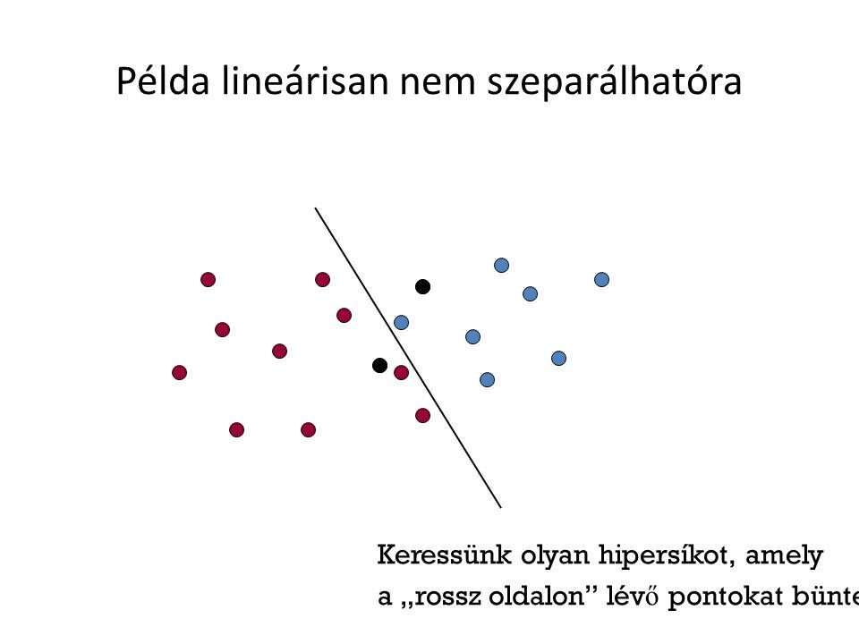 """Példa lineárisan nem szeparálhatóra Keressünk olyan hipersíkot, amely a """"rossz oldalon lév ő pontokat bünteti"""