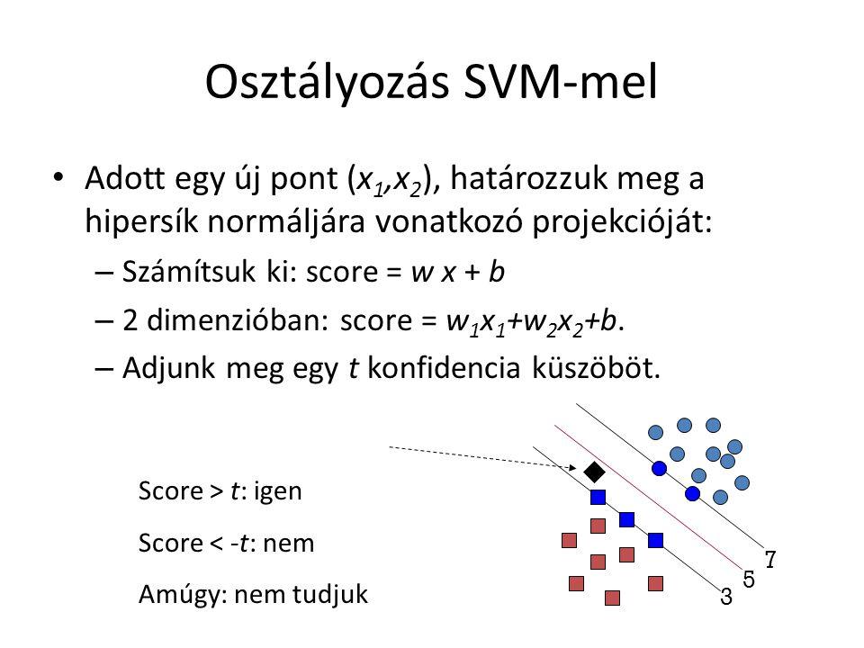 Osztályozás SVM-mel Adott egy új pont (x 1,x 2 ), határozzuk meg a hipersík normáljára vonatkozó projekcióját: – Számítsuk ki: score = w x + b – 2 dimenzióban: score = w 1 x 1 +w 2 x 2 +b.