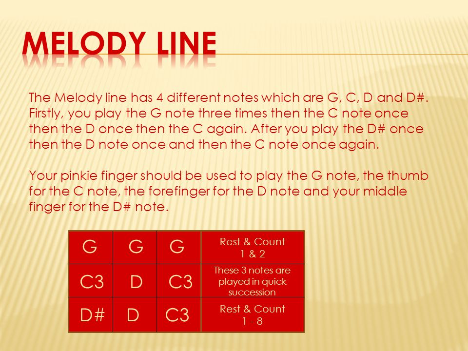 The Melody line has 4 different notes which are G, C, D and D#. Firstly, you play the G note three times then the C note once then the D once then the