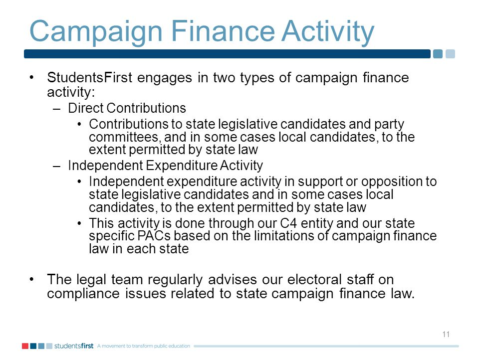 Campaign Finance Activity StudentsFirst engages in two types of campaign finance activity: –Direct Contributions Contributions to state legislative candidates and party committees, and in some cases local candidates, to the extent permitted by state law –Independent Expenditure Activity Independent expenditure activity in support or opposition to state legislative candidates and in some cases local candidates, to the extent permitted by state law This activity is done through our C4 entity and our state specific PACs based on the limitations of campaign finance law in each state The legal team regularly advises our electoral staff on compliance issues related to state campaign finance law.