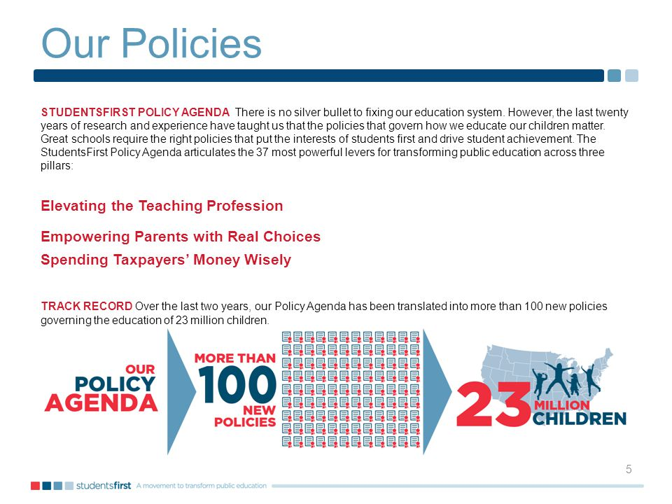 Our Policies 5 STUDENTSFIRST POLICY AGENDA There is no silver bullet to fixing our education system.