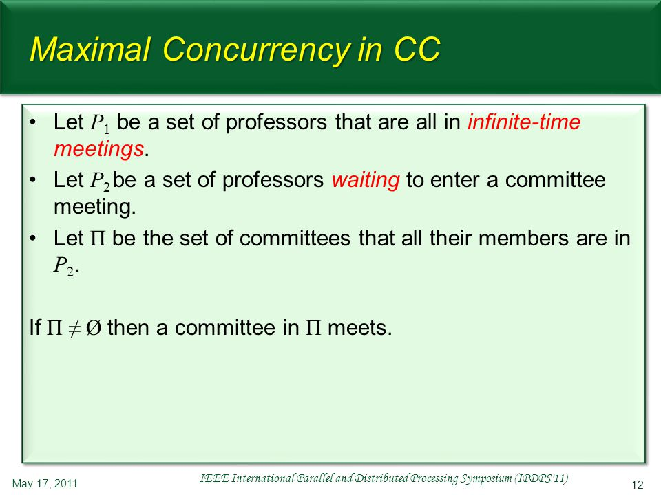12 Maximal Concurrency in CC Let P 1 be a set of professors that are all in infinite-time meetings. Let P 2 be a set of professors waiting to enter a