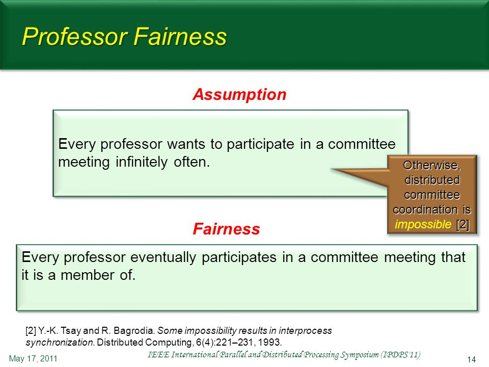 14 Professor Fairness Every professor wants to participate in a committee meeting infinitely often. May 17, 2011 IEEE International Parallel and Distr