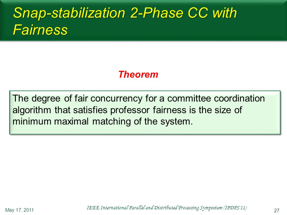 27 Snap-stabilization 2-Phase CC with Fairness The degree of fair concurrency for a committee coordination algorithm that satisfies professor fairness is the size of minimum maximal matching of the system.
