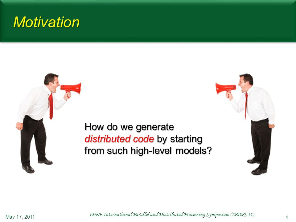 5 Motivation May 17, 2011 IEEE International Parallel and Distributed Processing Symposium (IPDPS 11) C1C1C1C1 C1C1C1C1 C4C4C4C4 C4C4C4C4 C2C2C2C2 C2C2C2C2 C3C3C3C3 C3C3C3C3 C6C6C6C6 C6C6C6C6 C5C5C5C5 C5C5C5C5 C7C7C7C7 C7C7C7C7 I1I1 I2I2 I3I3 Conflict resolution (exclusion) (exclusion)