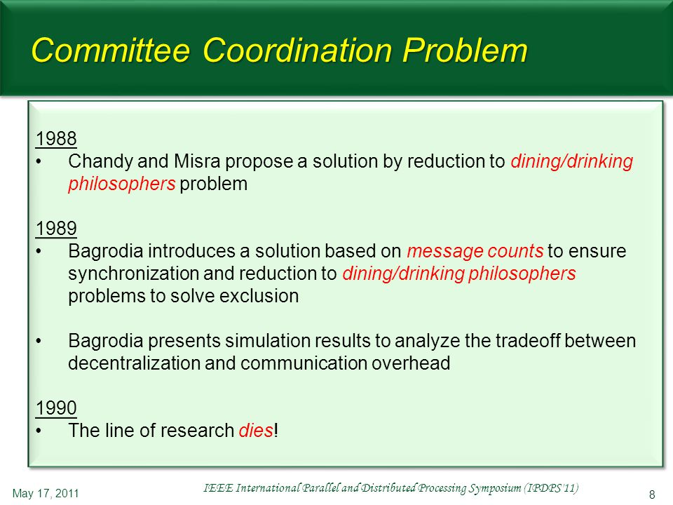 8 Committee Coordination Problem 1988 Chandy and Misra propose a solution by reduction to dining/drinking philosophers problem 1989 Bagrodia introduce