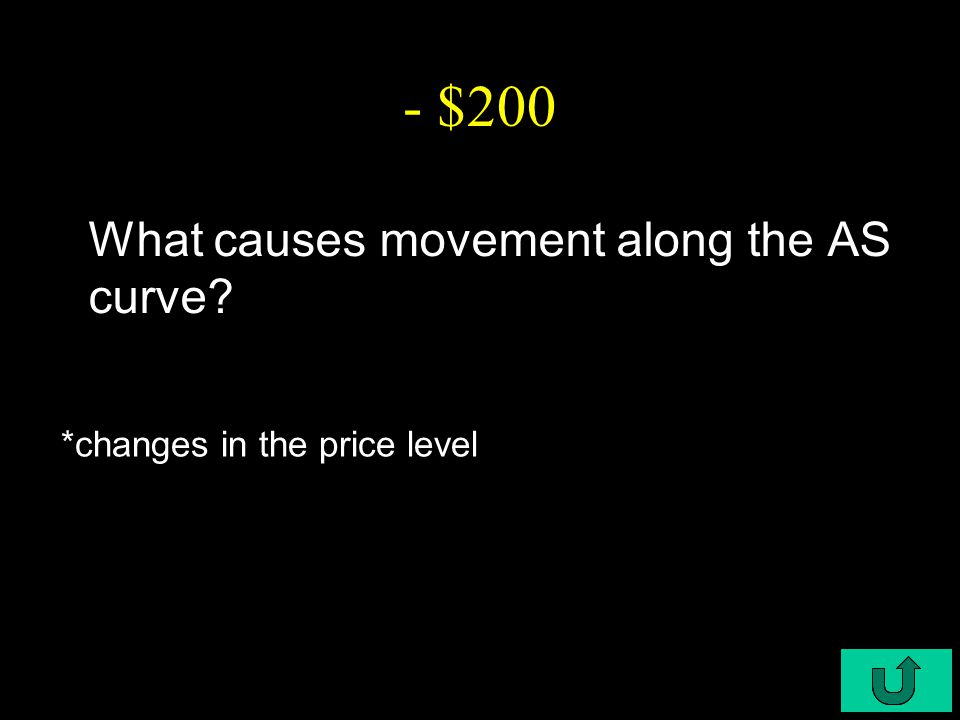 C5-$200 - $200 What causes movement along the AS curve *changes in the price level