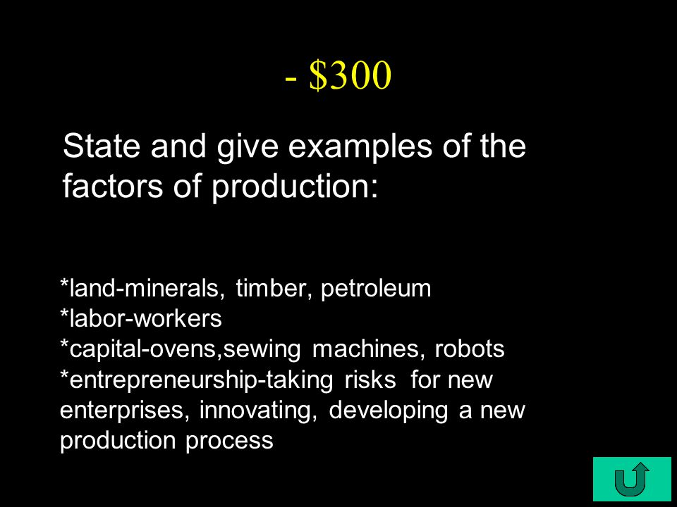 C6-$300 - $300 State and give examples of the factors of production: *land-minerals, timber, petroleum *labor-workers *capital-ovens,sewing machines, robots *entrepreneurship-taking risks for new enterprises, innovating, developing a new production process