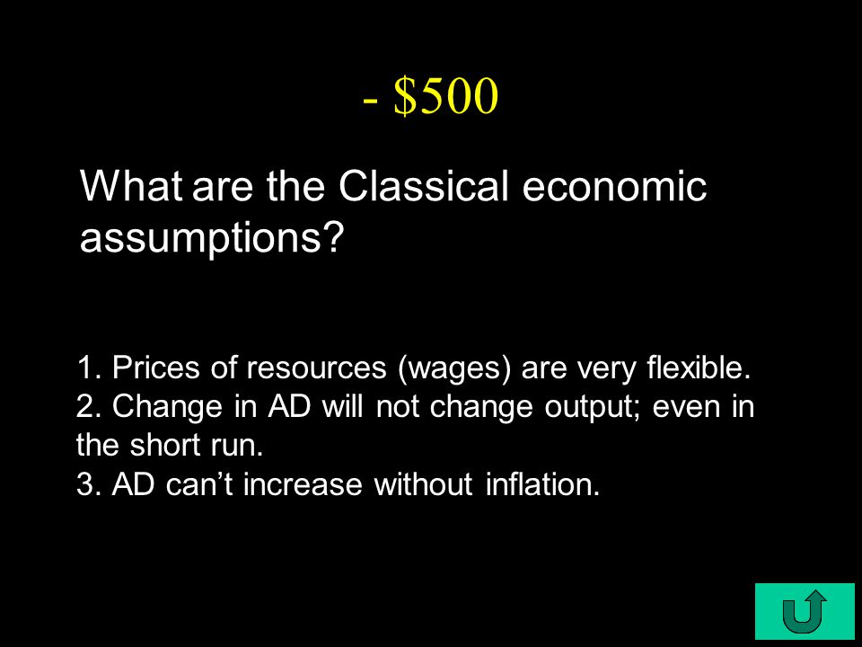 C6-$500 - $500 What are the Classical economic assumptions.