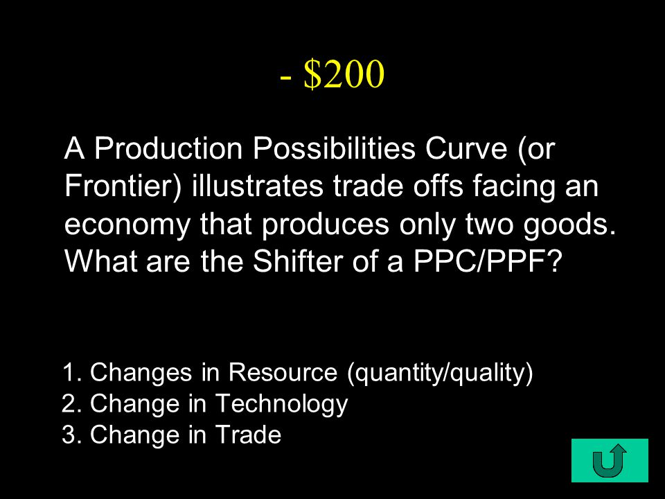 C1-$200 - $200 A Production Possibilities Curve (or Frontier) illustrates trade offs facing an economy that produces only two goods.