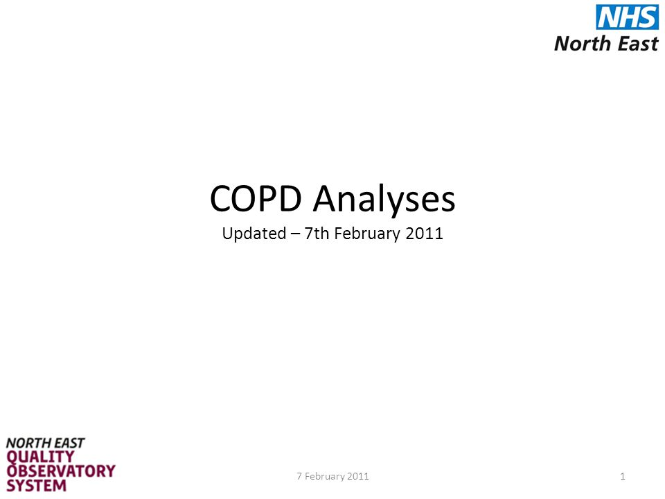 C1.1 – Admissions to secondary care where COPD is the primary diagnosis by acute trust Data Source: HES in-patient data 2008/09, 2009/10 Data Details: HES primary diagnosis (diag_01) in list of ICD10 codes Indicator: Number of admissions where the primary diagnosis is COPD by acute trust, standardised by age and sex Numerator = COPD admissions Denominator = All secondary care admissions Data Handling Notes: ICD10 Codes for COPD - J411, J420, J430, J431, J432, J438, J439, J440, J441, J448, J449 Indirectly standardised for age and sex 32