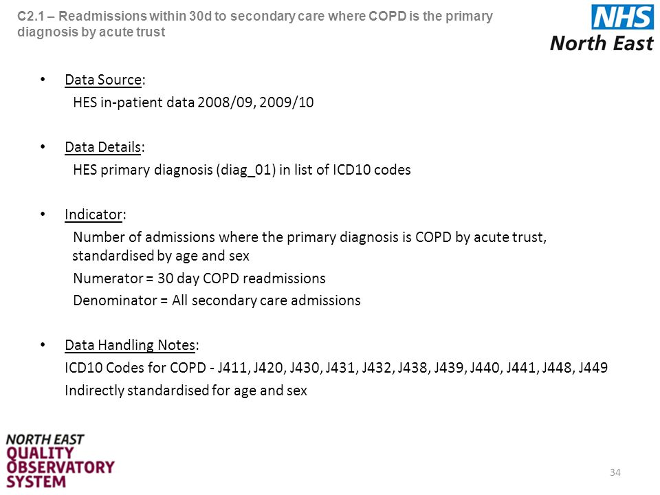 C2.1 – Readmissions within 30d to secondary care where COPD is the primary diagnosis by acute trust Data Source: HES in-patient data 2008/09, 2009/10 Data Details: HES primary diagnosis (diag_01) in list of ICD10 codes Indicator: Number of admissions where the primary diagnosis is COPD by acute trust, standardised by age and sex Numerator = 30 day COPD readmissions Denominator = All secondary care admissions Data Handling Notes: ICD10 Codes for COPD - J411, J420, J430, J431, J432, J438, J439, J440, J441, J448, J449 Indirectly standardised for age and sex 34
