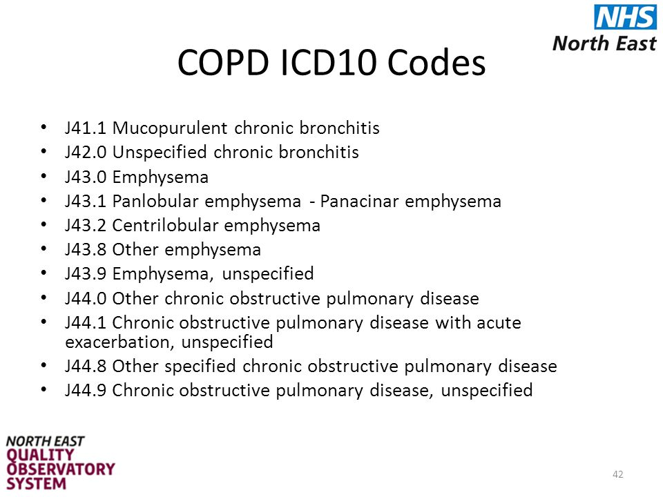 COPD ICD10 Codes J41.1 Mucopurulent chronic bronchitis J42.0 Unspecified chronic bronchitis J43.0 Emphysema J43.1 Panlobular emphysema - Panacinar emphysema J43.2 Centrilobular emphysema J43.8 Other emphysema J43.9 Emphysema, unspecified J44.0 Other chronic obstructive pulmonary disease J44.1 Chronic obstructive pulmonary disease with acute exacerbation, unspecified J44.8 Other specified chronic obstructive pulmonary disease J44.9 Chronic obstructive pulmonary disease, unspecified 42
