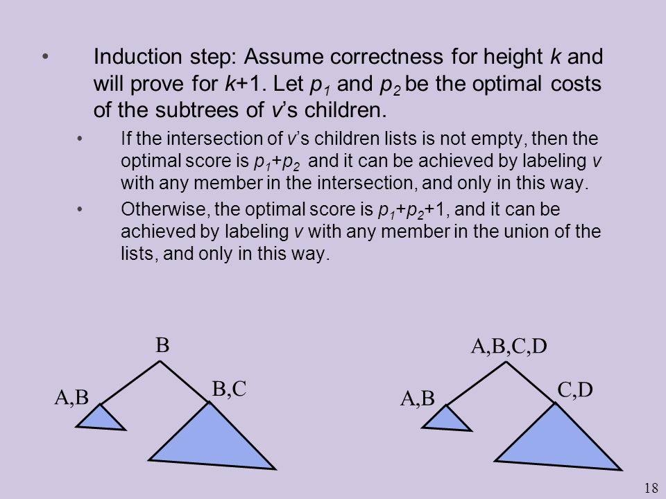 18 Induction step: Assume correctness for height k and will prove for k+1.