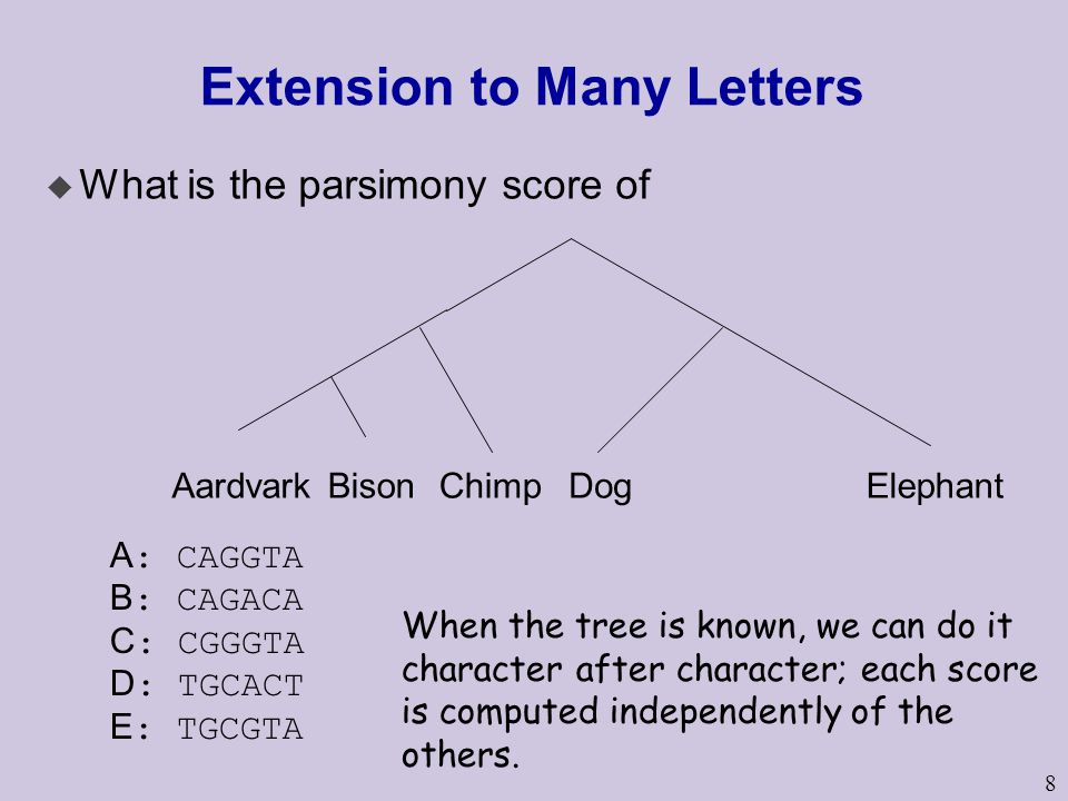 8 Extension to Many Letters u What is the parsimony score of AardvarkBisonChimpDogElephant A : CAGGTA B : CAGACA C : CGGGTA D : TGCACT E : TGCGTA When the tree is known, we can do it character after character; each score is computed independently of the others.
