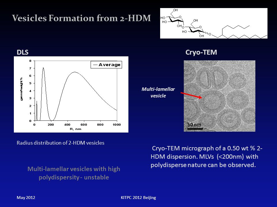 Vesicles Formation from 2-HDM 50 nm Cryo-TEM Multi-lamellar vesicle 50 nm Multi-lamellar vesicles with high polydispersity - unstable Radius distribut