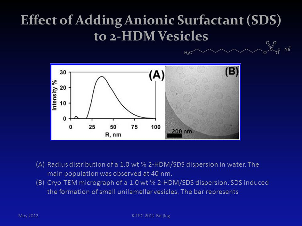Effect of Adding Anionic Surfactant (SDS) to 2-HDM Vesicles May 2012KITPC 2012 Beijing (A)Radius distribution of a 1.0 wt % 2-HDM/SDS dispersion in wa