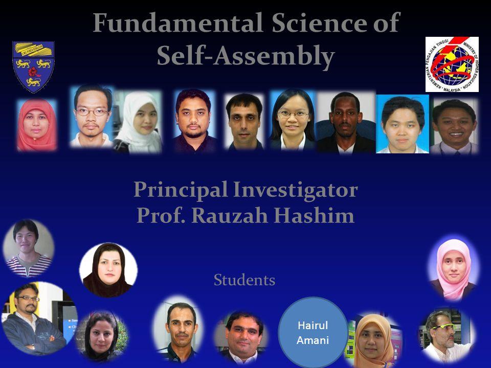 Fundamental Science of Self-Assembly Principal Investigator Prof. Rauzah Hashim Hairul Amani Students