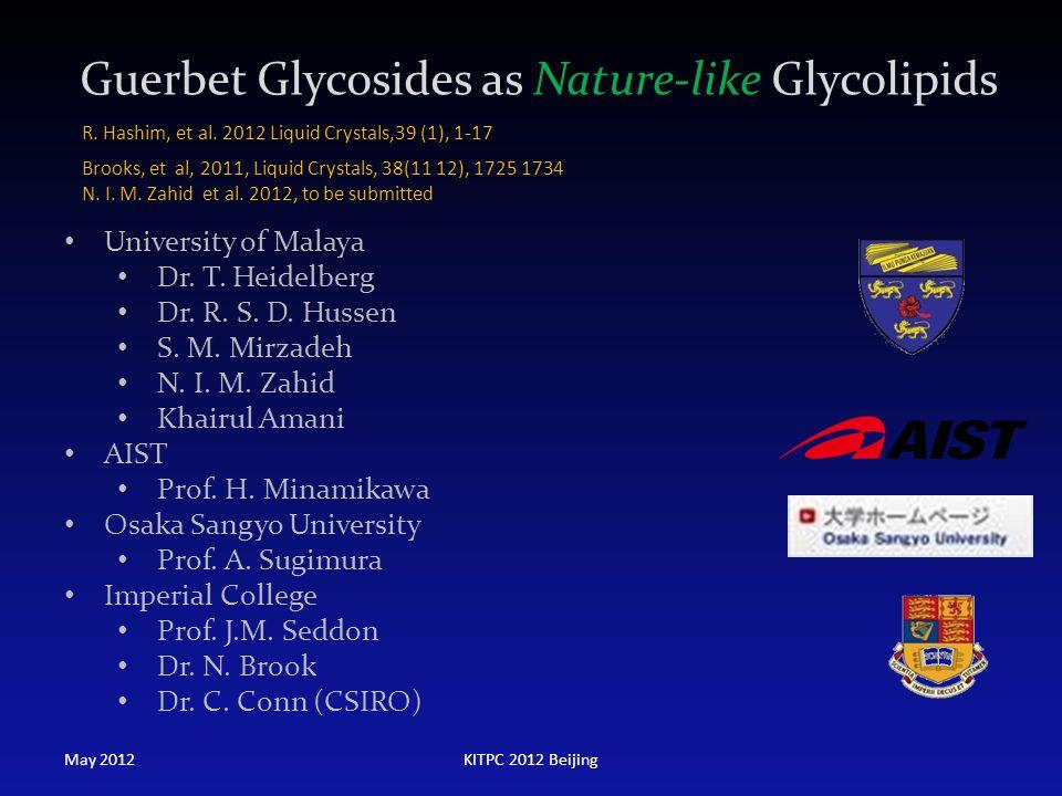 Guerbet Glycosides as Nature-like Glycolipids University of Malaya Dr. T. Heidelberg Dr. R. S. D. Hussen S. M. Mirzadeh N. I. M. Zahid Khairul Amani A