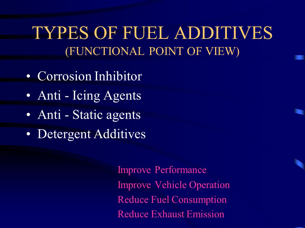 ADDITIVES TYPES Surface Active Chemicals of Limited Solubility in Fuels - Long Chain Alcohols - Long Chain Amines - Alkyl Phenols - Carboxylic Acids - Ethoxylated Alkyl Phenols are Popular and are Extensively Used Dosages:-<10ppm Used in Both Gasoline and Diesel Demul / 3