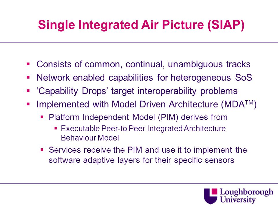 Single Integrated Air Picture (SIAP)  Consists of common, continual, unambiguous tracks  Network enabled capabilities for heterogeneous SoS  'Capability Drops' target interoperability problems  Implemented with Model Driven Architecture (MDA TM )  Platform Independent Model (PIM) derives from  Executable Peer-to Peer Integrated Architecture Behaviour Model  Services receive the PIM and use it to implement the software adaptive layers for their specific sensors