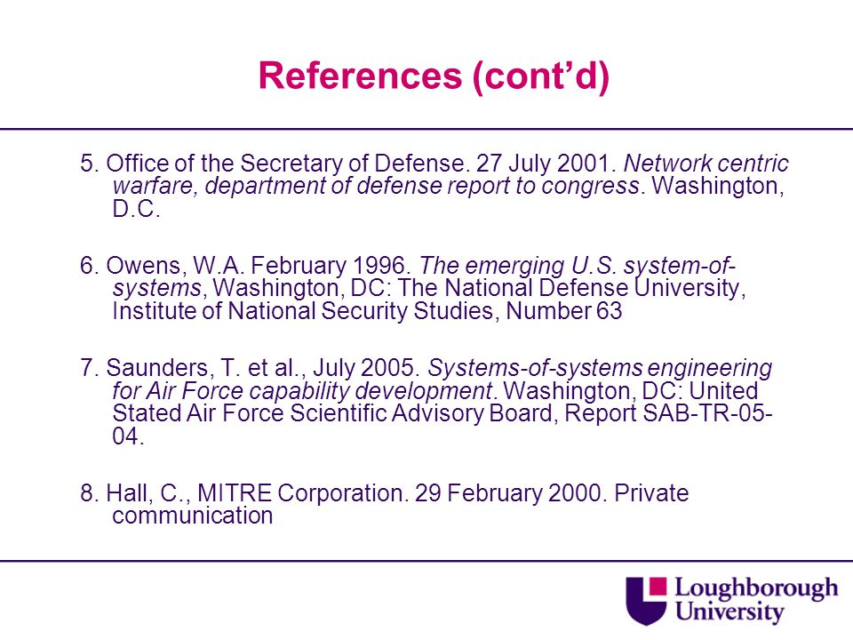 References (cont'd) 5. Office of the Secretary of Defense.