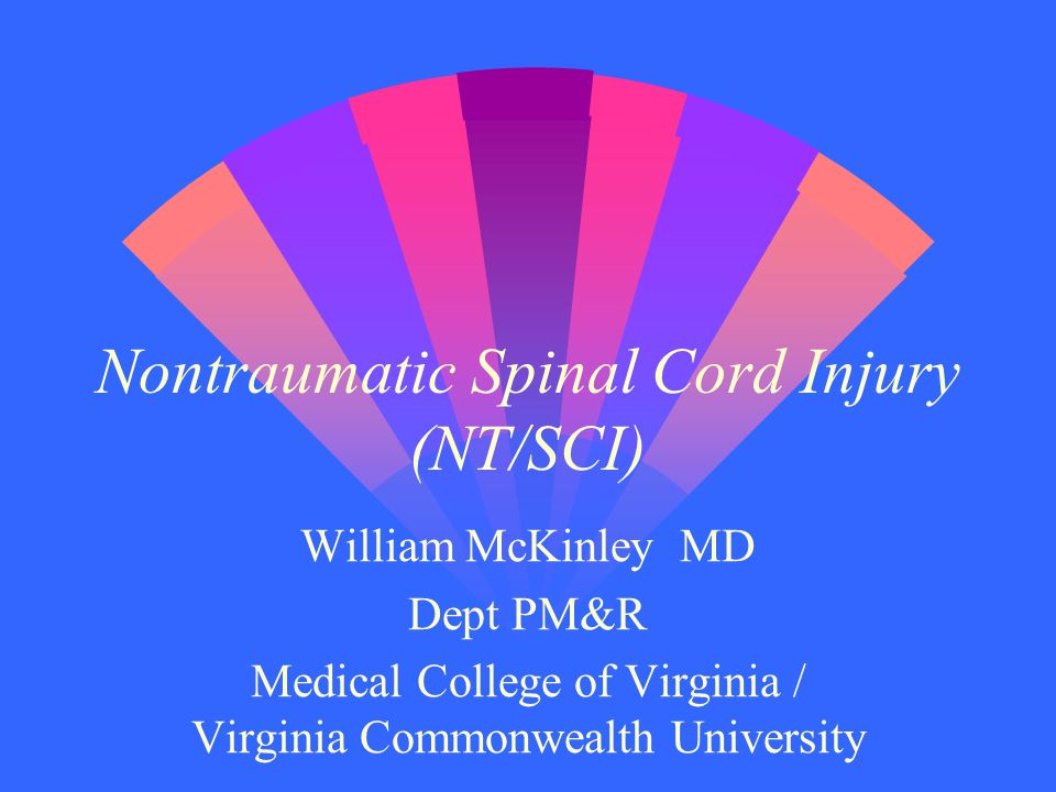 Nontraumatic Spinal Cord Injury (NT/SCI) William McKinley MD Dept PM&R Medical College of Virginia / Virginia Commonwealth University