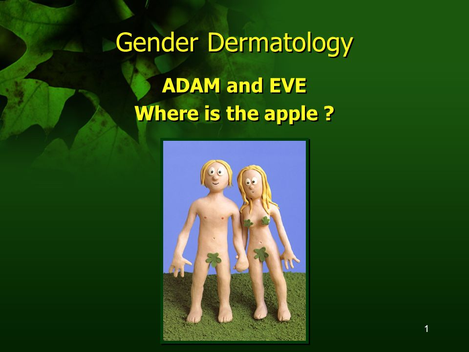 1 Gender Dermatology ADAM and EVE Where is the apple ? ADAM and EVE Where is the apple ?